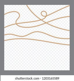 Golden or Bronze Color Round Chain. Realistic String Beads insulated. Decorative element. Gold Bead Design.Vector illustration.