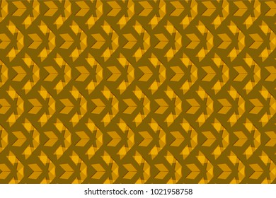 Golden brown triangles in a repeating pattern over a brown background. cool pattern with layer transparency effect for textile and fabric use. creative design for backdrops, backgrounds and surfaces