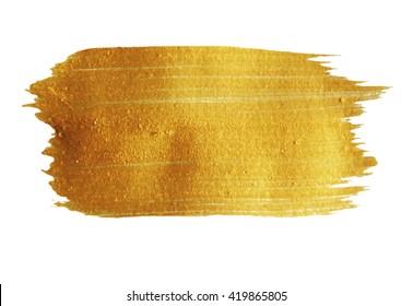 Golden Brush stroke. Vector golden splash. Hand painted yellow background, texture.