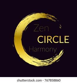 Golden brush stroke zen circle artwork template. Vector illustration