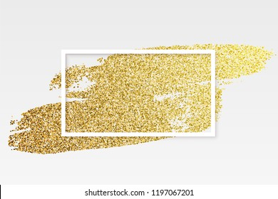 Golden brush strokes with white rectangle frame isolated on gray background. Vector design element.