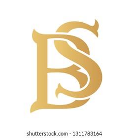 Golden BS monogram isolated in white.