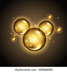 golden bubbles with magical luster, transparent background 3d illustration