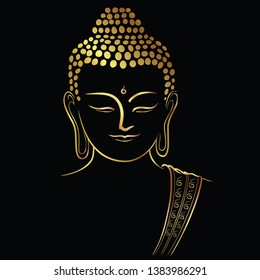 Golden buddha head with golden border element isolate on black background (Vector flat concept)