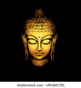 Golden Buddha head with halftone pattern effect on a black background.