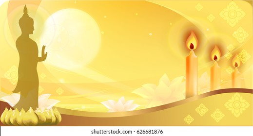 Golden Buddha statue and light candle with light of the moon background