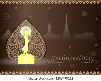 Golden Buddha statue on Bodhi tree gold color of thai tradition on brown background ,greeting card,illustration vector eps10.