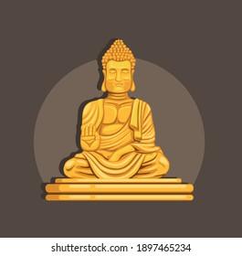 Golden Buddha statue religion symbol concept in cartoon illustration vector