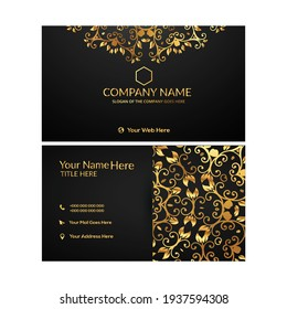 Golden Buiesness Card With Template Design Vector