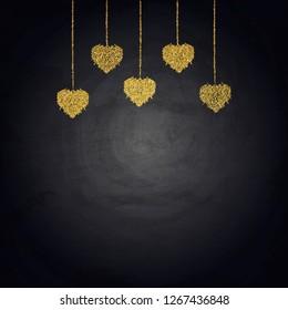Golden bunting hearts on blackboard. Valentine day vector illustration