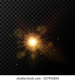 Golden burst, light effect on transparent background, vector
