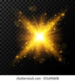 Golden burst, light effect on transparent background, vector