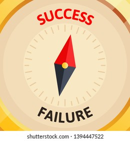 Golden business compass show direction to success. Path to success. Business vector illustration. Flat, cartoon style, isolated on white background.
