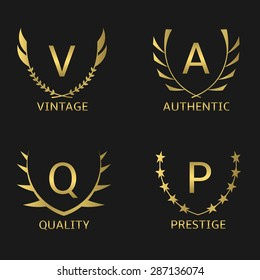 Golden business logo set: Vintage, Quality, Prestige, Authentic