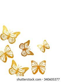 golden butterflies art postcard
