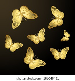 Golden butterflies background. Vector eps10