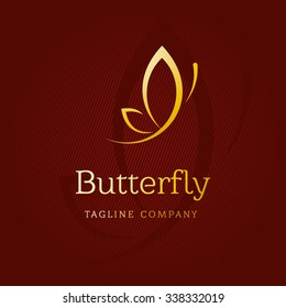 A Golden butterfly. Logo template for beauty salon, Spa salon, etc.
