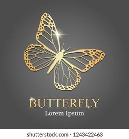 golden butterfly logo. Vector. Golden butterfly silhouette. company logo