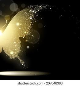 golden butterfly on black background