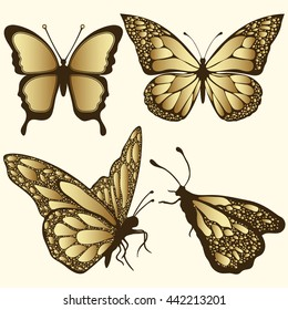 Golden Butterfly set. Luxury design, expensive jewelry, brooch. Exotic patterned Insect, tattoo, decorative element. Vector illustration