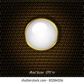Golden Button on Carbon Fiber Background. Vector illustration
