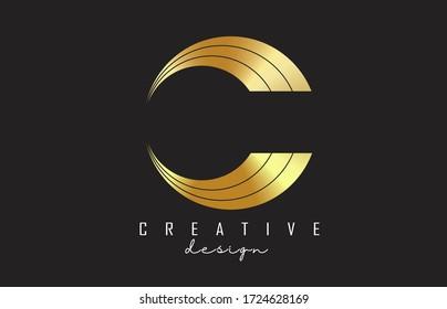 Golden C Letter Logo with Monogram and luxury design. Graphic golden C icon. Creative C Vector Illustration.