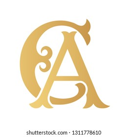 Golden CA monogram isolated in white.