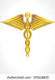 golden caduceus sign vector illustration