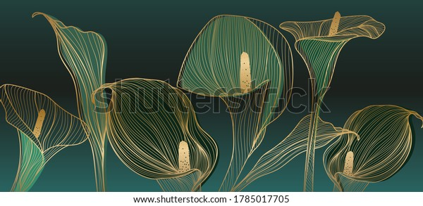 Golden calla lily pattern vector, Wedding wallpaper background for warapping paper design, brochure, backdrop, packaging and print vector illustration.