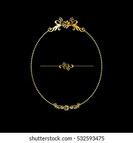 Golden calligraphic design oval frame on the black background. For gold menu and invitation cards, page decor. Luxury style calligraphy with divider