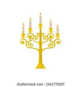 Golden candelabrum with burning candles, vintage candlestick vector Illustration on a white background