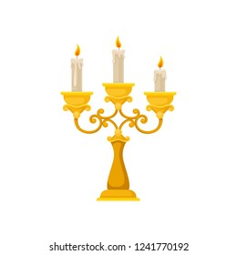 Golden candelabrum with three burning candles, vintage candlestick vector Illustration on a white background