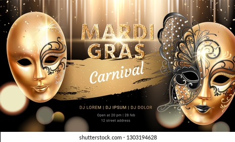 Golden carnival mask with butterfly for mardi gras banner. Fat tuesday flyer or background for card design. Venice masquerade celebration or venetian holiday, party poster. Holiday and celebration