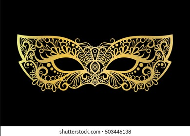 Golden carnival mask on the black background vector illustration