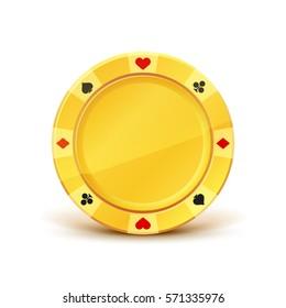 Golden casino chip. Game Money. Award Icon. Isolated on white background. Vector illustration.