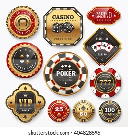 golden casino club labels collection set in white background