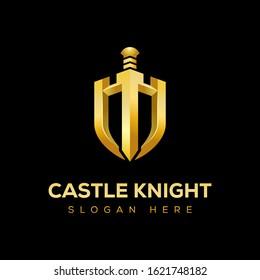 Golden Castle knight with shield premium logo design vector template