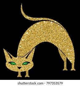 Golden cat with emerald eyes. Vector illustration. Eps 10