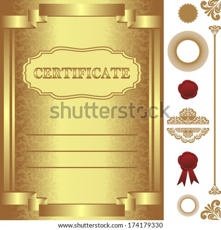 Golden Certificate Template Additional Elements Stock Vector