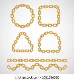 Golden chain brush design to create frames, dividers, decorative shapes. Shinig metallic symbol of safety, connection, security. Oval links for strength, protection or belonging concept.