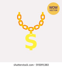 Golden Chain with Dollar Symbol Icon