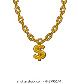 golden chain with dollar symbol.  isolated on white background vector graphics art.