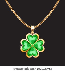 Golden chain necklace with lucky clover pendant. St Patrick's day irish symbol.