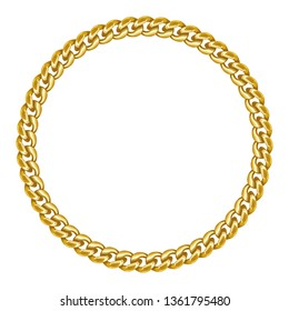 Golden chain round border frame. Seamless wreath circle shape. Jewelry design, text frame. Realistic vector illustration isolated on a white background.