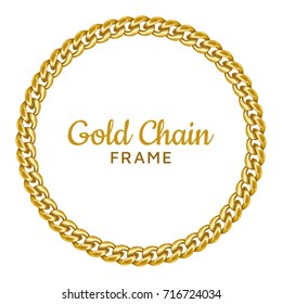 cfc074bcd118 Golden chain round border frame. Seamless wreath circle shape. Jewelry  design