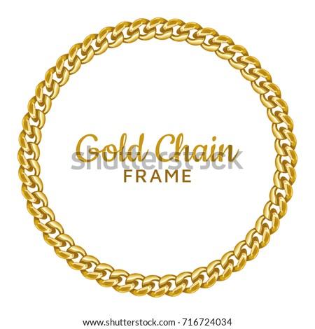 f231e0f3bd98 Golden chain round border frame. Seamless wreath circle shape. Jewelry  design