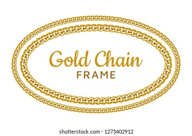 Golden chain round ellipse border frame. Seamless wreath circle shape. Realistic vector illustration isolated on a white background.