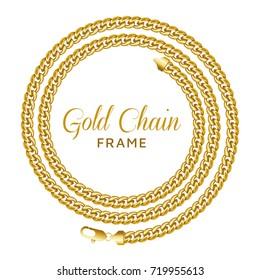 8fa583ed229d Golden chain round spiral border frame. Wreath circle shape. Jewelry  design