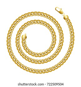 Golden chain round spiral border frame. Wreath circle shape. Jewelry design, text frame. Realistic vector illustration isolated on a white background.
