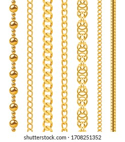 Golden chain. Seamless luxury chains of different shapes, realistic gold jewelry links, metal golden elements repeating pattern vector metallic frame set